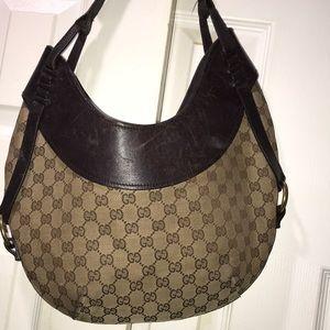 Auth Fab Vintage Gucci Brown Logo Shoulder bag